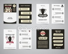 American football party flyer templates design collection. Usa Sport brand identity letterhead. Event Poster, brochures and banners with typography, horseshoe emblem, sunburst. Vector — Stock Illustration #92815400