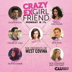 Meet the quirky residents of West Covina when Crazy Ex-Girlfriend airs Mondays at on The CW! My Crazy Ex Girlfriend, Crazy Ex Girlfriends, Ex Boyfriend, Teen Series, I Have Been Waiting, West Covina, Series Premiere, Movie Lines, Television Program