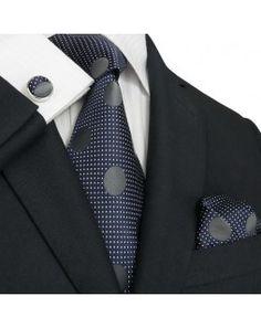 TheDapperTie - New Men's Navy Polka Dots Silk Tie Set 73M $39.99