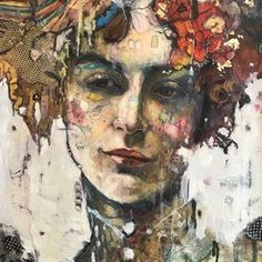 """One of a series of portraits of women painted from the imagination. This was made with oils, found objects, vintage fabric, gold foil, inks, and love. Comes signed and ready to hang on a 16""""x2..."""