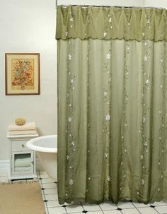 Daisy Embroidered Floral Fabric Shower Curtain Sage Green Creative Linens http://www.amazon.com/dp/B00G3K7TVE/ref=cm_sw_r_pi_dp_2wjVtb03W5WY8JJW