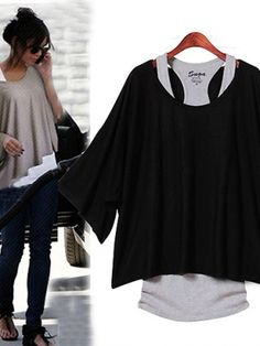 Women's Fashionable Pure Color Batwing Sleeve Plus Size T-Shirts on buytrends.com