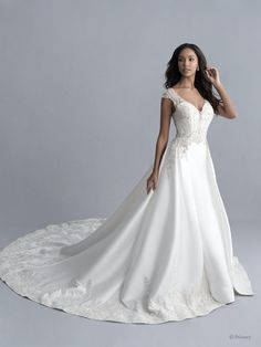Disney Wedding Dresses 2020 - a beautiful collection of Disney Wedding Dresses and gowns from the Fairytale Wedding Collection. Browse these 16 Disney Wedding Dresses and Gowns inspired by the Disney Princesses Belle, Tiana, Snow White, Cinderella and Tiana. Jasmine Bridal, Jasmine Dress, Disney Wedding Dresses, Princess Wedding Dresses, Gown Wedding, Disney Weddings, Dream Wedding, Princess Gowns, Modest Wedding