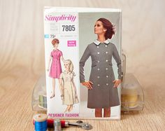 Size 12, Coat Dress w/ Detachable Collar, Simplicity (7805), Vintage 1960s Sewing Pattern. $11.99, via Etsy.