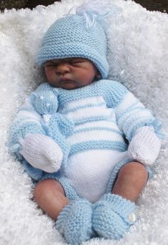 KNITTING PATTERN baby or reborn for sweater pants booties hat mitts toy 18/22 in reborn 2 sizes dk