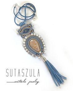 Tassel+boho+blue+jeans+beige+colorful+necklace+soutache+OOAK