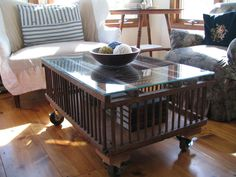 homespun living: a repurposed chicken crate now a coffee table