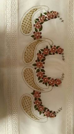 N Embroidery Neck Designs, Embroidery Suits, Silk Ribbon Embroidery, Cross Stitch Embroidery, Embroidery Patterns, Hand Embroidery, Crochet Rope, Ribbon Work, Thread Work