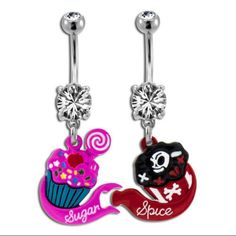 sugar & spice matching belly button rings