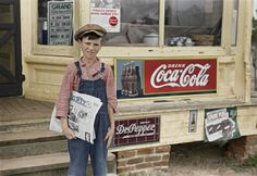 "Grit 'n' Coke (Colorized): May 1938. Farm boy who sells ""Grit."" Irwinville Farms, Georgia"