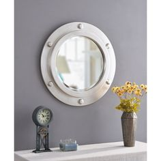 Buy Kenroy Home Portside Wall Mirror, 24 Inch Diameter, Weathered Steel Round Mirror With Rope, Rope Mirror, Round Wall Mirror, Wall Mounted Mirror, Round Mirrors, Porthole Mirror, Nautical Wall Mirrors, Nautical Wall Decor, Beach Wall Decor