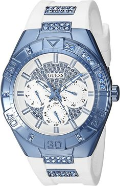 5674e2156393 Amazon.com  GUESS Women s U0653L2 Sporty White Silicone Watch with Sky Blue  Accents and Multi-Function Dial  Watches