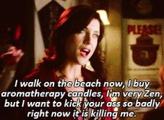 I walk on the beach now, I buy aromatherapy candles, I'm very Zen, but I want to kick your ass so badly right now it is killing me.