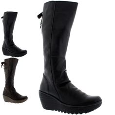 Womens Fly London Yust Knee High Leather Winter Snow Wedge Heel Boots UK 3-9