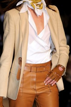 50.+hermes.jpg (398×600) Love this all except the blouse. tan leather pants, beige riding jackets, tan fingerless gloves, hermes scarf