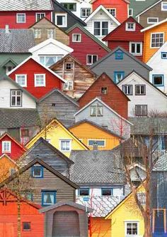 Scandinavia. I wish I lived in any one of these houses, in whatever village or town this is.