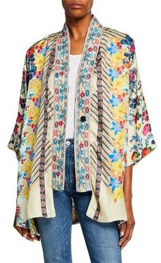 Johnny Was Plus Size Bonian Floral-Print One-Button Silk Twill Kimono w/ Embroidered Trim Kimono Sewing Pattern, Kimono Jacket, Johnny Was, Summer Outfits, Floral Prints, Plus Size, Silk, Clothes For Women, Button