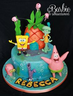 Spongebob and Co. - Cake by Barbie lo schiaccianoci (Barbara Regini) Spongebob Birthday Party, Birthday Cake Girls, Fondant Cakes, Cupcake Cakes, Character Cakes, Novelty Cakes, Cake Boss, Occasion Cakes, Girl Cakes