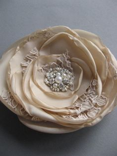 Bridal Flower Hair clip Beige Tan Sand Nude pearl rhinestone lace vintage inspired fascinator wedding hairpiece accessory. $27.00, via Etsy.