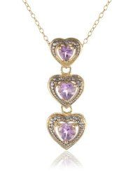 18k Gold Plated Sterling Silver, Diamond Accent and Amethyst Triple Heart Drop Linear Pendant Necklace $34.00