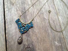 Micro macrame necklace in teal elven macrame pendant long chain antique bronze…