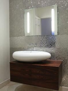 shiny more bathroom sink powder room bathroom idea pebble tile wall