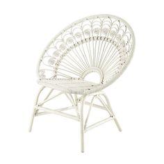 Sessel im Vintage-Stil aus Rattan, weiß