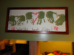 I made this for my husband for fathers day. He loved it. Footprint Art, Footprints, Fathers Day Gifts, Dyi, Crafts For Kids, Daddy, June, Husband, Craft Ideas