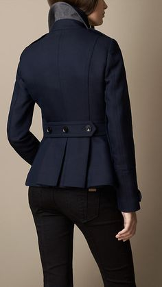 Brit Double Breasted Pea Coat With Pleat Detail