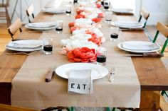 simple & pretty table  (make the napkins, butcher paper runner? paper flowers?)