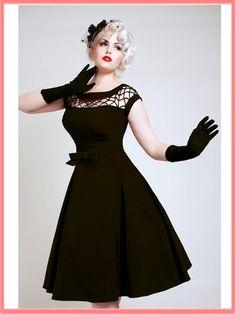 Bettie Page Black Fishnet Top Alika Swing Dress