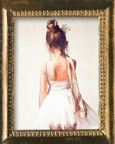 Sweet Ballerina Watercolor Art Print Ballet Dance by ChezLorraines