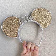 Crown Princess Mouse Ohren in Gold, Rotgold oder Silber, Disney Ears Minnie Mickey Style mit Krone - walt disney - disney ears - disney food - couples disney - disney pins - villains disney - disney crafts - disney quizzes - orlando disney - stitch disney Disney Ears Headband, Diy Disney Ears, Disney Diy, Disney Crafts, Ear Headbands, Wide Headband, Earrings Uk, Silver Drop Earrings, Silver Bracelets