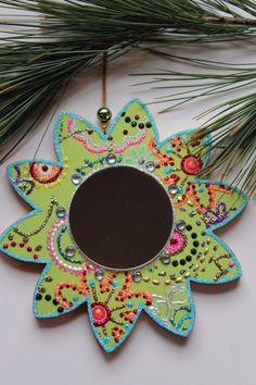 Green Mirror Flower Original Sybille Lichtenstein Christmas Wood Slice Ornament