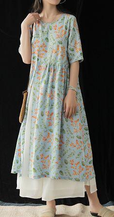 Natural o neck half sleeve Cotton dress Work blue print Dress summer - Work Outfits Women Casual Work Dresses, Simple Dresses, Dresses For Work, Simple Kurti Designs, Kurta Designs, Linen Dresses, Cotton Dresses, Maxi Dresses, Indian Designer Outfits