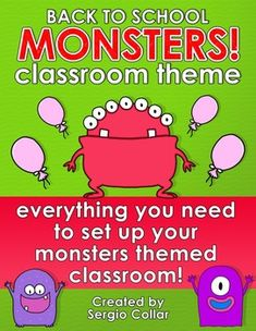 Back+to+School+-+MONSTERS+CLASSROOM+THEME   Everything+you+need+to+set+up+your+monsters+themed+classroom!   This+pack+(over+400+pages)+includes:  -	Calendar+Set.  -	12+months+posters.+  -	Behaviour+management+chart+(3+pages).  -	20+door+super+heroes.  -	33+daily+schedule+cards.  -	6+EDITABLE+blank+schedule+cards.  -	10+subjects+posters: Art,+Math,+Music,+Reading,+Writing,+Science,+Social+Studies,+Spanish,+Library,+Lunch.  -	10+student+binder+covers…