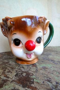 Vintage Lefton Rudolph Deer Red Nose Mug by VintageJunkInMyTrunk