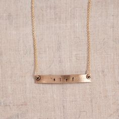 Skinny Bar Name Necklace, $49, Nameplate necklace, personalized necklace, gold, jewelry, hand stamped jewelry