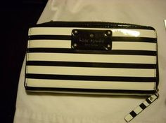 Kate Spade Kate Spade Pasadena Neda Patent Leather Black & Ice Stripe Zip Around Wallet