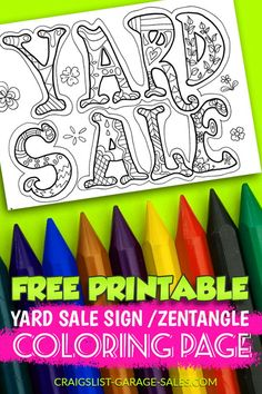 She had me at Free Yard Sale Printables Yard Sale Signs, Garage Sale Signs, For Sale Sign, Templates Printable Free, Free Printables, Free Coloring Pages, Coloring Books, Crafts To Sell, Selling Crafts
