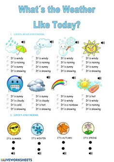 English Lessons For Kids, English Class, Teaching English, Learn English, English Grammar Worksheets, English Verbs, Weather Worksheets, Worksheets For Kids, Weather In English