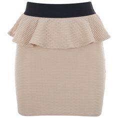 Lipsy Textured Peplum Skirt ($38) ❤ liked on Polyvore featuring skirts, mini skirts, saias, faldas, gonne, jupes, blush, beige mini skirt, peplum mini skirt and mini skirt