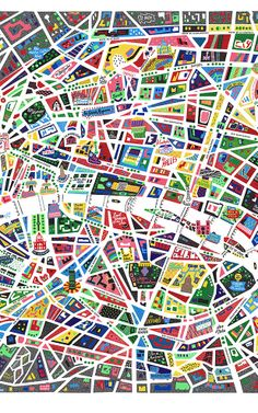 illustrated map of Paris with lots of geometric shapes used. - Neon Map of Paris Travel Maps, Travel Posters, Map Design, Graphic Design, Design Ios, Paris Map, Paris Poster, Paris City, Paris France