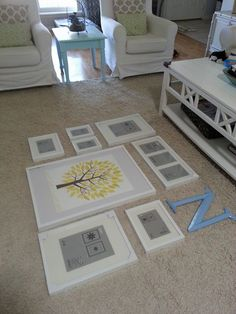gallery wall - lay it out on the floor to make sure it looks nice, then take a picture to show to Al