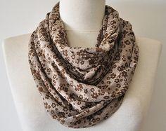 floral infinity scarf,infinity scarf,floral scarf,beige floral scarf,brown floral scarf,beige and brown,floral cowl scarf,floral chunky11028