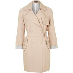 TOPSHOP Soft Belted Trench Coat ($130) ❤ liked on Polyvore featuring outerwear, coats, dusty pink, belted trench coat, topshop, beige coat, pink coat and double breasted belted coat