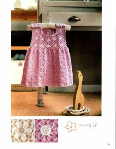 baby pink dress croche