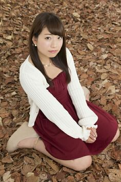 Lovely asian girl in the forest. Scarlet dress and white sweater #asiangirl