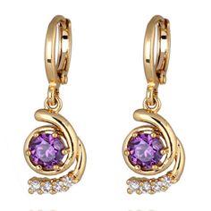 18K Gold Galvanized Zircon Earrings purple