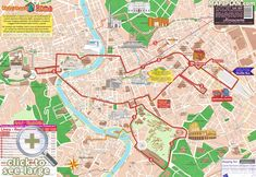 Double decker bus open top hop on hop off sightseeting tour Rome top tourist attractions map